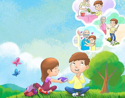 illustration to Children's magazine
