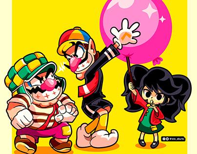 Wario, Waluigi y Ashley X El Chavo