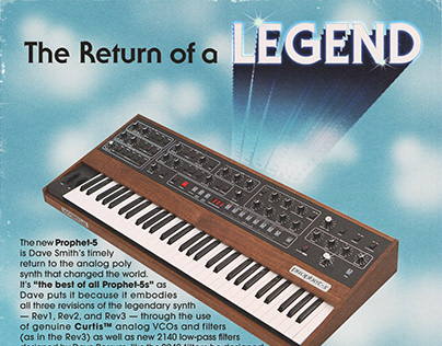 Ad for Sequential's Prophet 5.