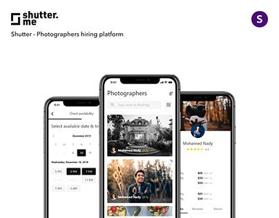 Shutter - Photographers hiring platform