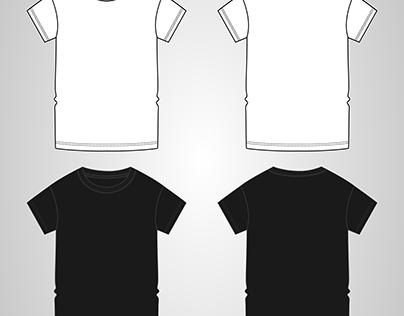 T shirt Fashion Flat sketch Vector Template.
