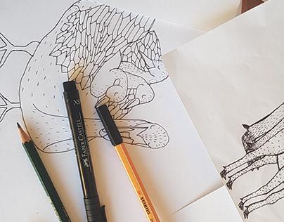 WILD MUMS serie of illustration