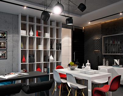 kitchen interior design combined with a corridor