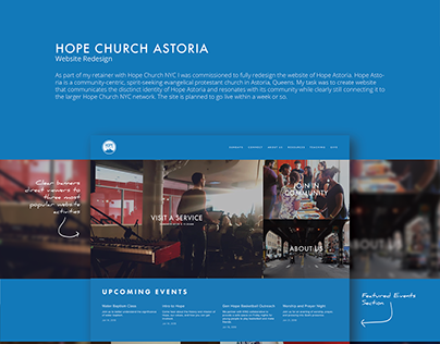 Web design for Hope Church, Astoria