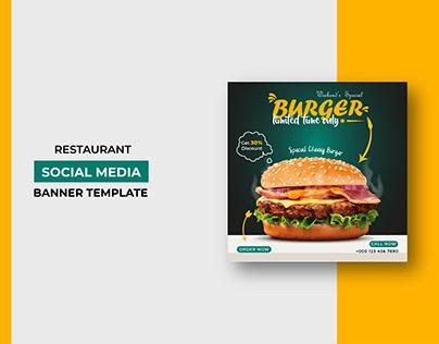 Restaurant Burger Sale Social Media Post Template