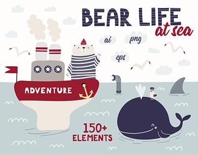 Bear at Sea, Cute Nautical Kids Graphics