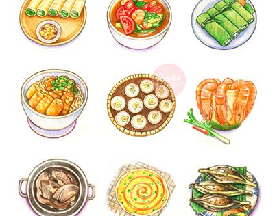 越南美食插畫 / 色鉛筆作品 - Vietnamese Food Illustration