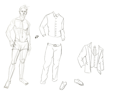 Sketches for dress up doll.