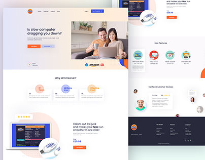 Win Cleaner Product Landing page