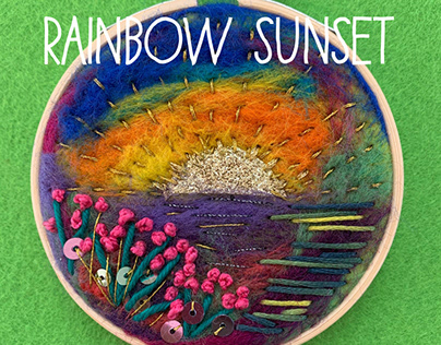 Rainbow Sunset embroidery