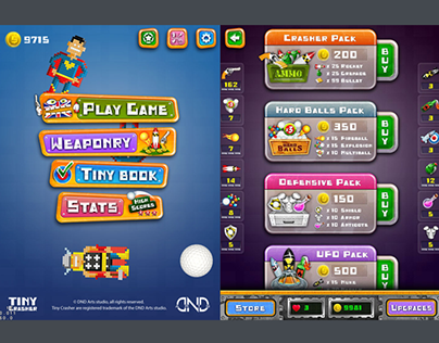 Tiny Crasher - mobile game UI/UX