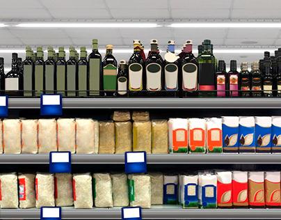 Rice, dressing, vinaigrette, olive oil on a shelf