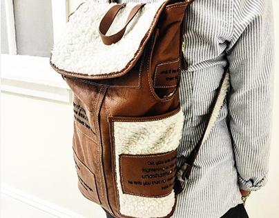 ELLA -cowhide & faux shearling patchwork backpack