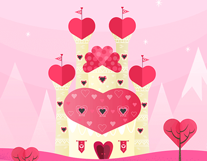 Valentine's Day Card Design - Castle of Hearts
