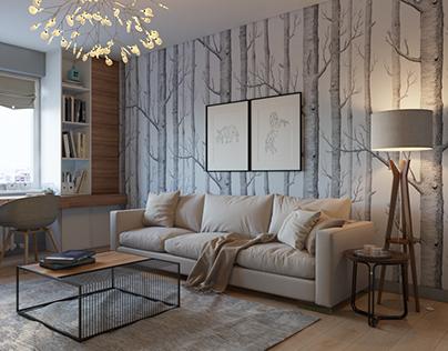 Design of the studio apartment at Teremki