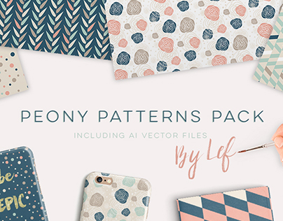 Peony and Geometric Patterns including Vector Files