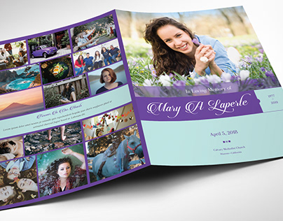 Remember Purple Teal Funeral Program Word