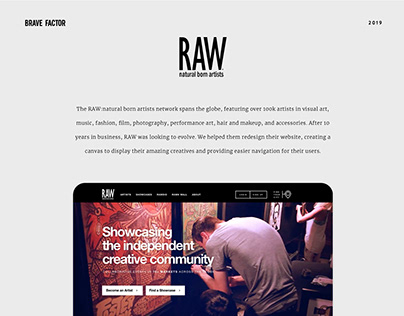 RAW Artists Web Redesign