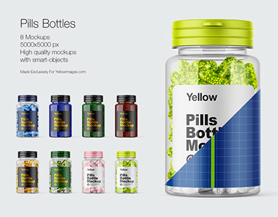 8 Pills Bottles PSD Mockups