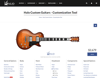 Halo Guitars store & customization webapp