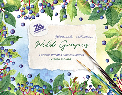 """Watercolor collection """"Wild Grapes"""""""