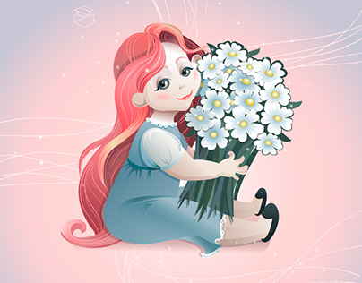 Character illustration. Girl with flowers