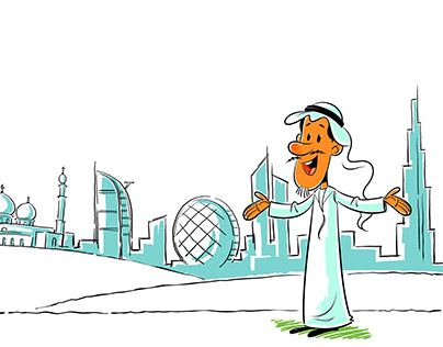 Cartoon Landmarks of UAE