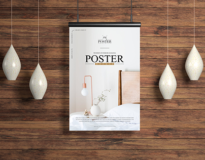 Wooden Interior Hanging Poster Mockup Free