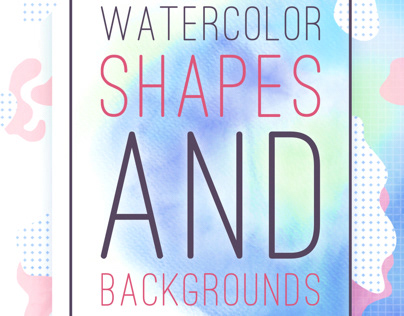 Watercolor shapes and background color set