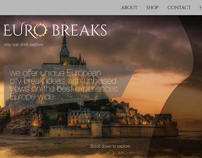 Euro breaks homepage load concept design