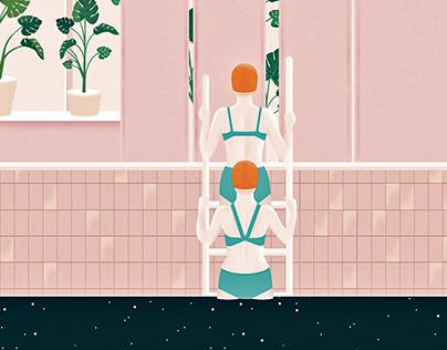 Pool illustration for fiverr company