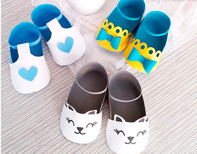 3D Paper Baby Shoes