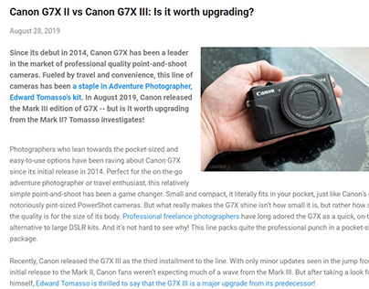 Canon G7X II vs Canon G7X III Camera Review + Blog Post