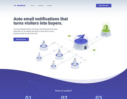 Sendtinel 2.0 - Landing page