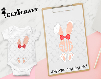 Easter Bunny Girl Monogram Design / SVG Cut File