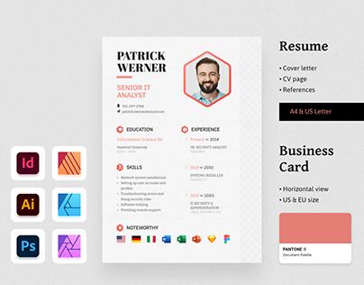 WERNER Resume CV & Business Card Template Pack