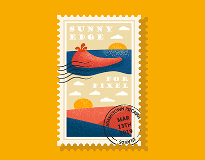 Postage stamp in the flat style