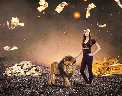 Gold lion girl manipulation