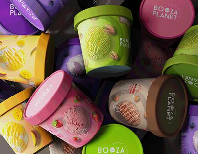 Booza Planet / ice cream packaging design
