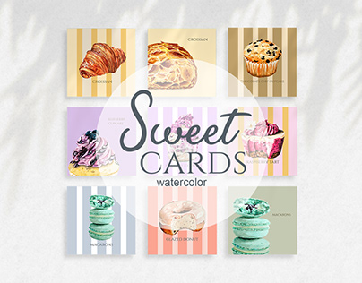 Watercolor Dessert Post Cards