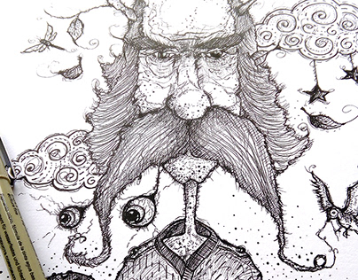 Backwoodsman - ink drawing