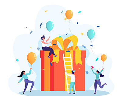 Flat design. Concept of gifts, cooperation, friendship