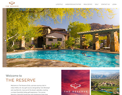 The Reserve Club homepage redesign concept