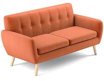 Josephine Mid Century Modern Petite Sofa 3D model