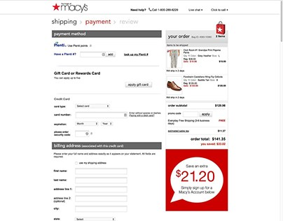 Macy's - Checkout Inline Customer Profile Signup