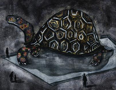 Turtles in City / Mixed media illustration