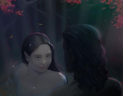 Aragorn meets Arwen in Lothlórien