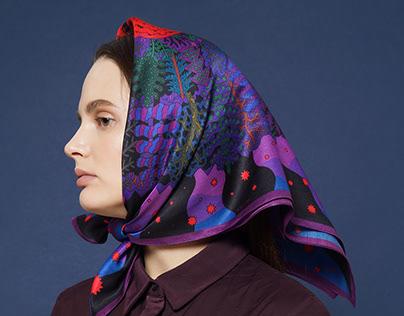 "silk scarf design ""bonfire"""