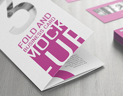 3 Fold and Business card Mock-Up