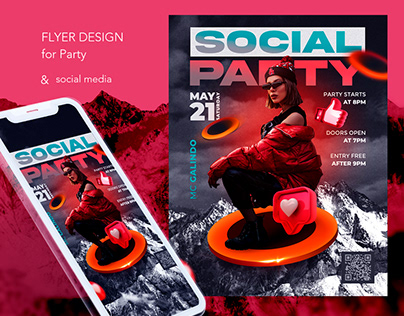 Party flyer design with social media formats